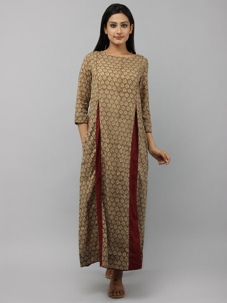 Olive Green maroon Hand Block Printed Cotton Maxi Dress