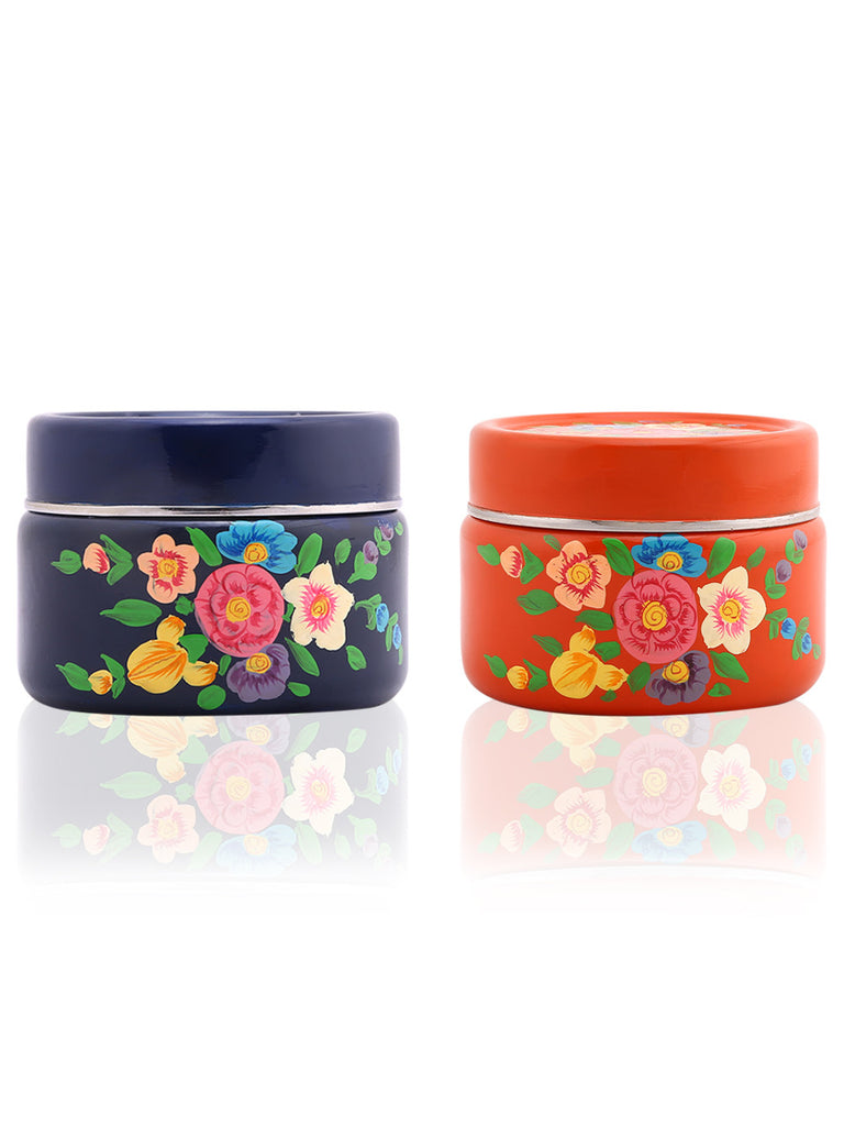 Orange Navy Floral Hand Painted Steel Canisters Compact - Set of 2