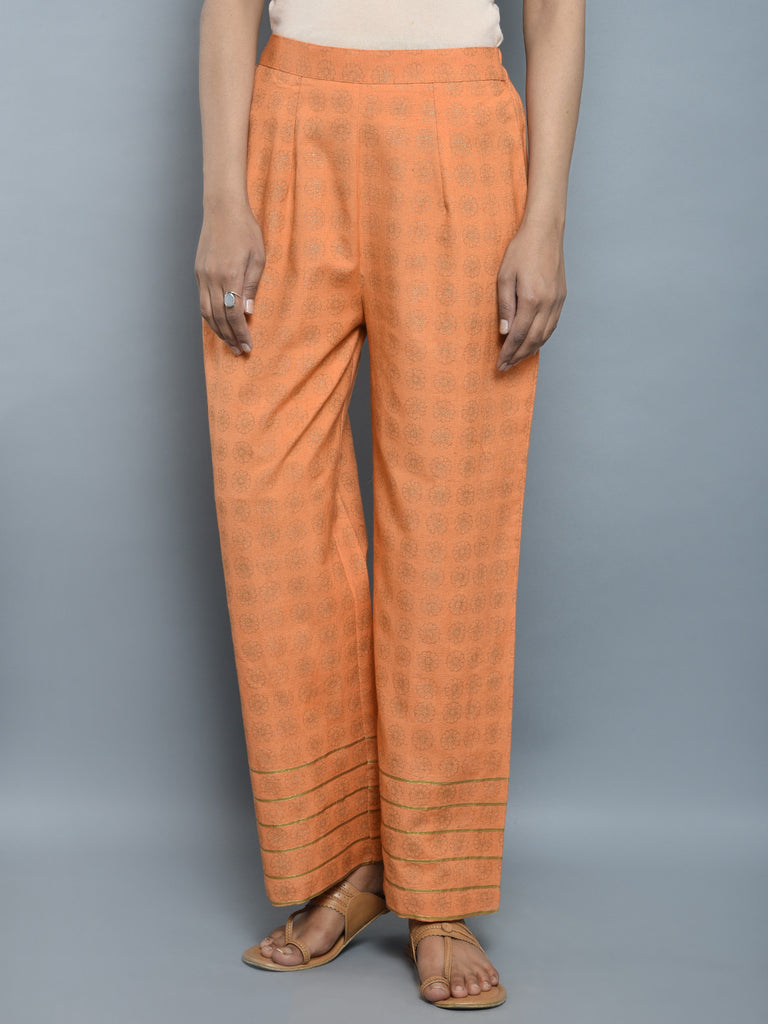 Orange Golden Block Printed Khadi Pants