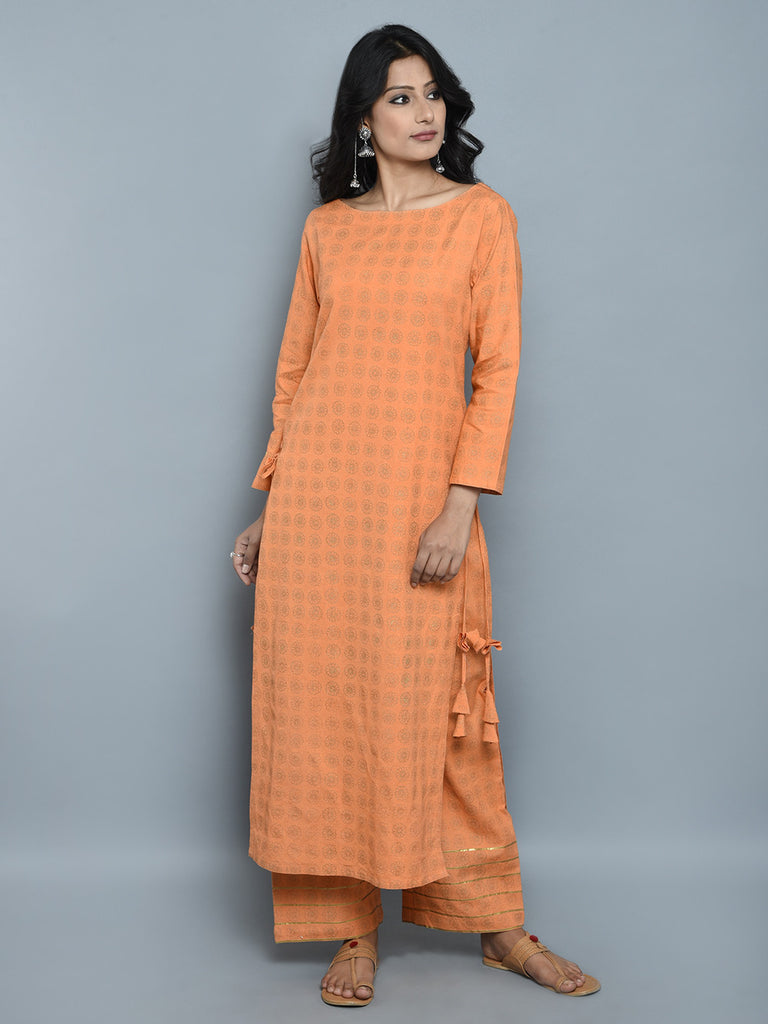 Orange Golden Block Printed Khadi Kurta