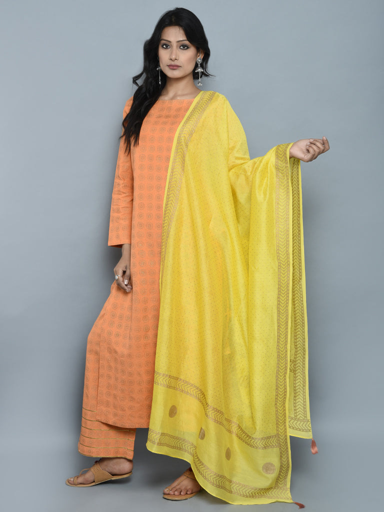 Orange Block Printed Khadi Kurta and Pants with Yellow Chanderi Dupatta - Set of 3