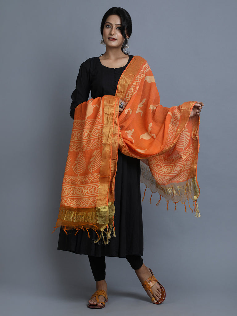 Orange Block Printed Silk Dupatta