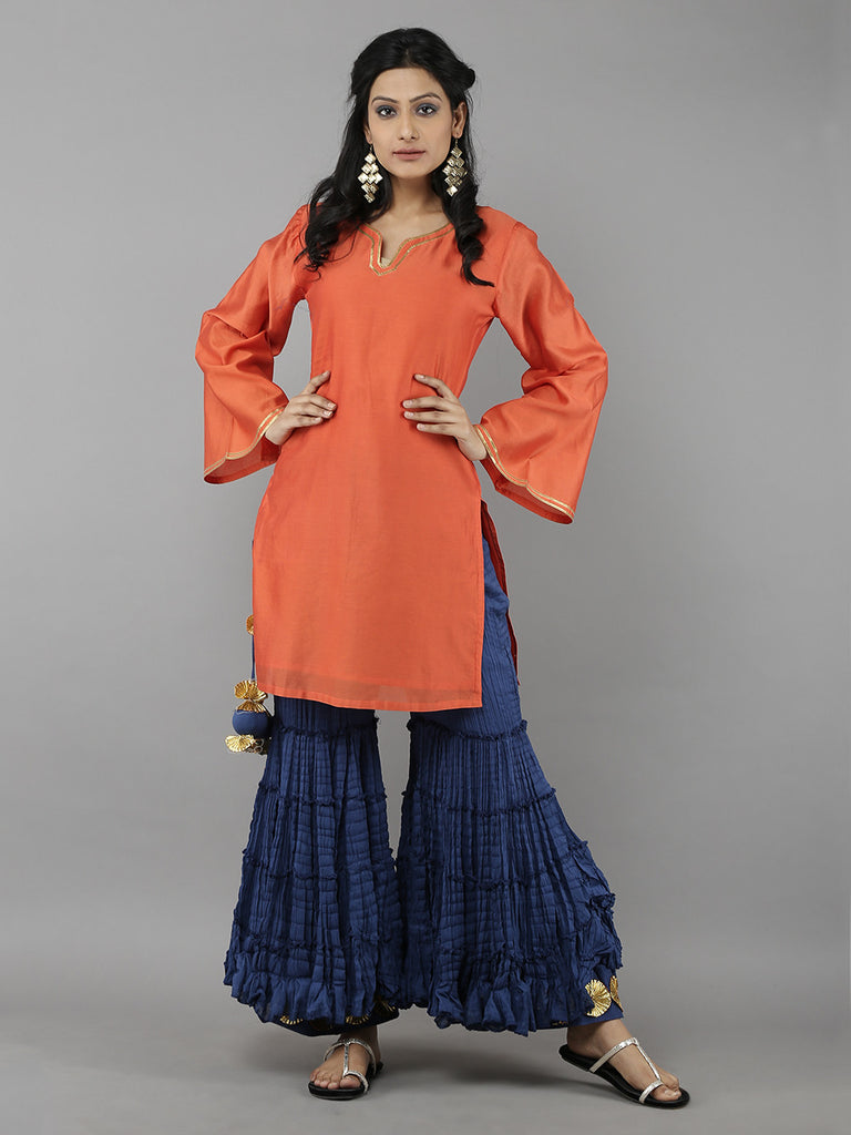 Orange Chanderi Kurta
