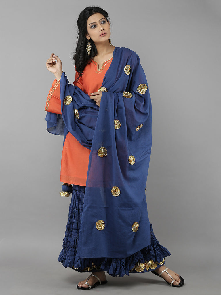 Orange Blue Sharara Set with Dupatta - 3 Piece