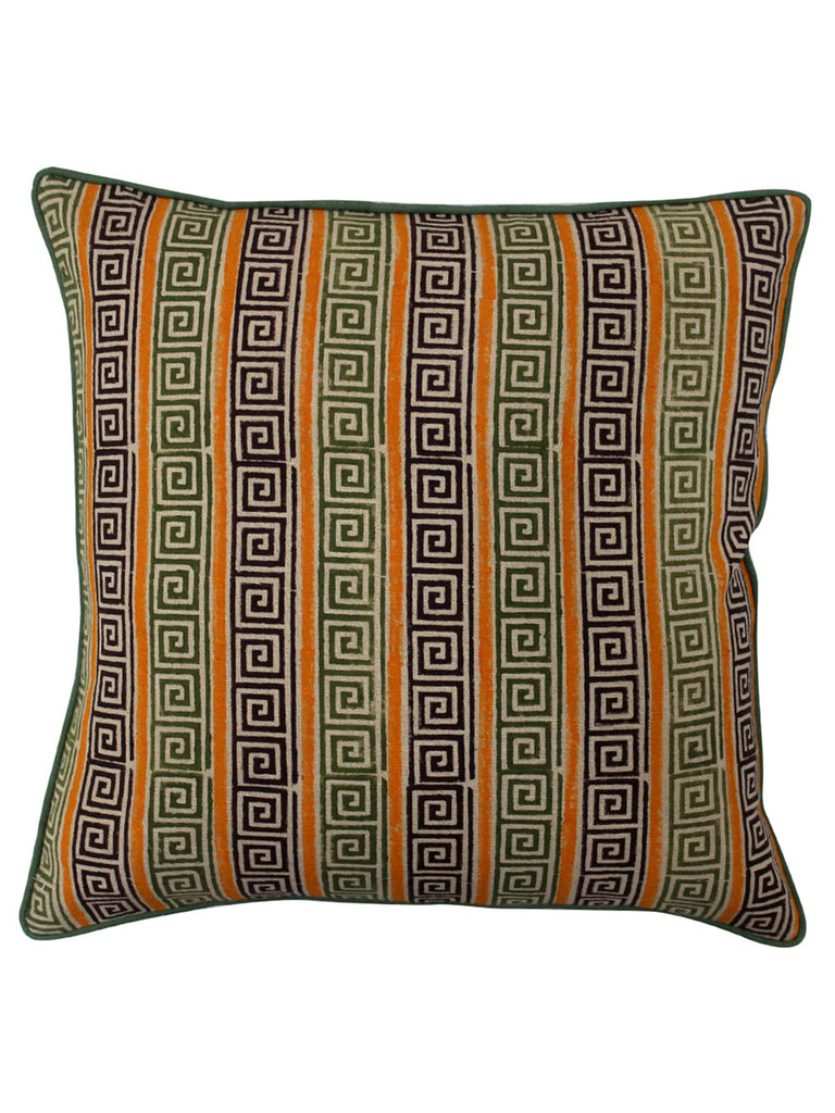 Orchre Yellow Brown Cotton Slub Block Printed Cushion Cover