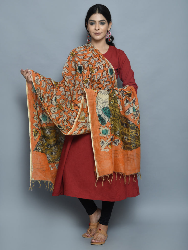 Orange Peacock Chanderi Hand Painted Kalamkari Dupatta