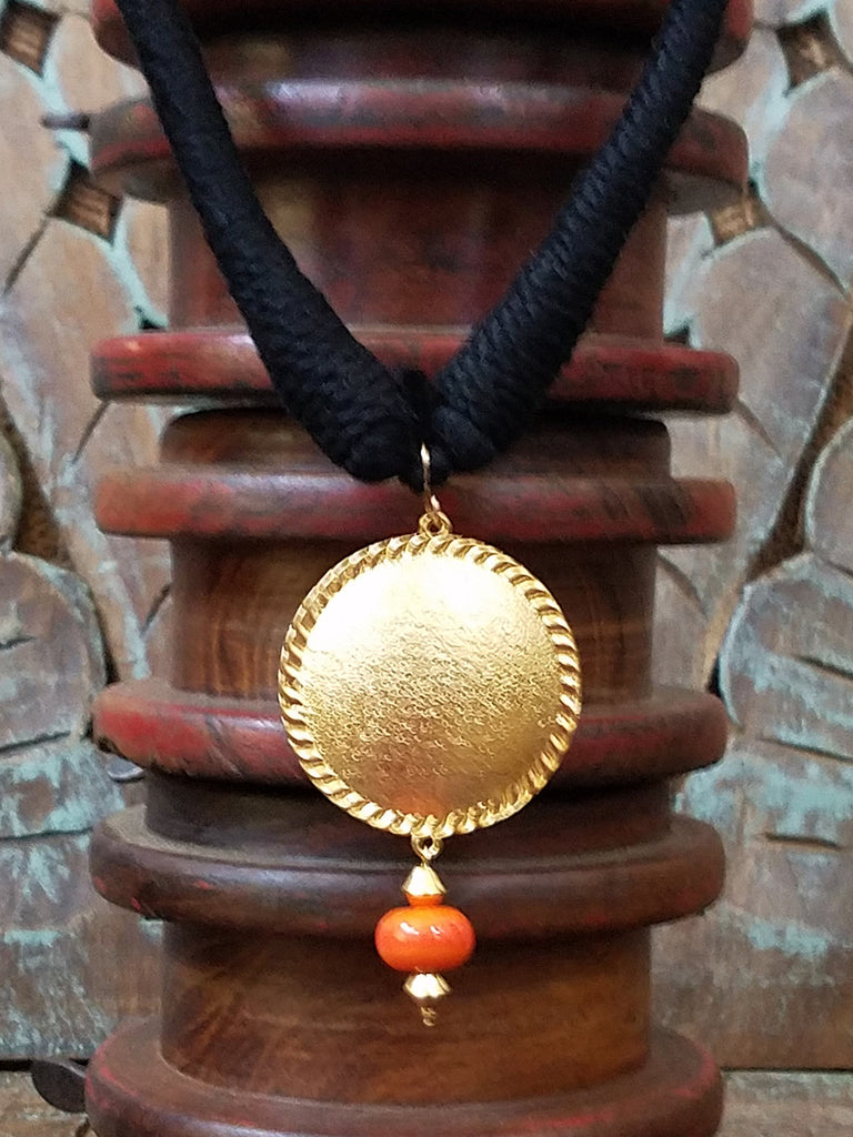 Orange Circular Silver Pendant with Gold Plating