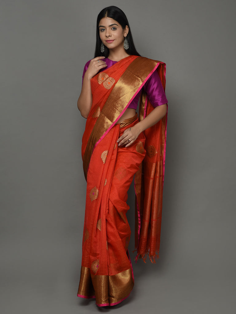 Orange Magenta Kora Cotton Handwoven Banarasi Saree