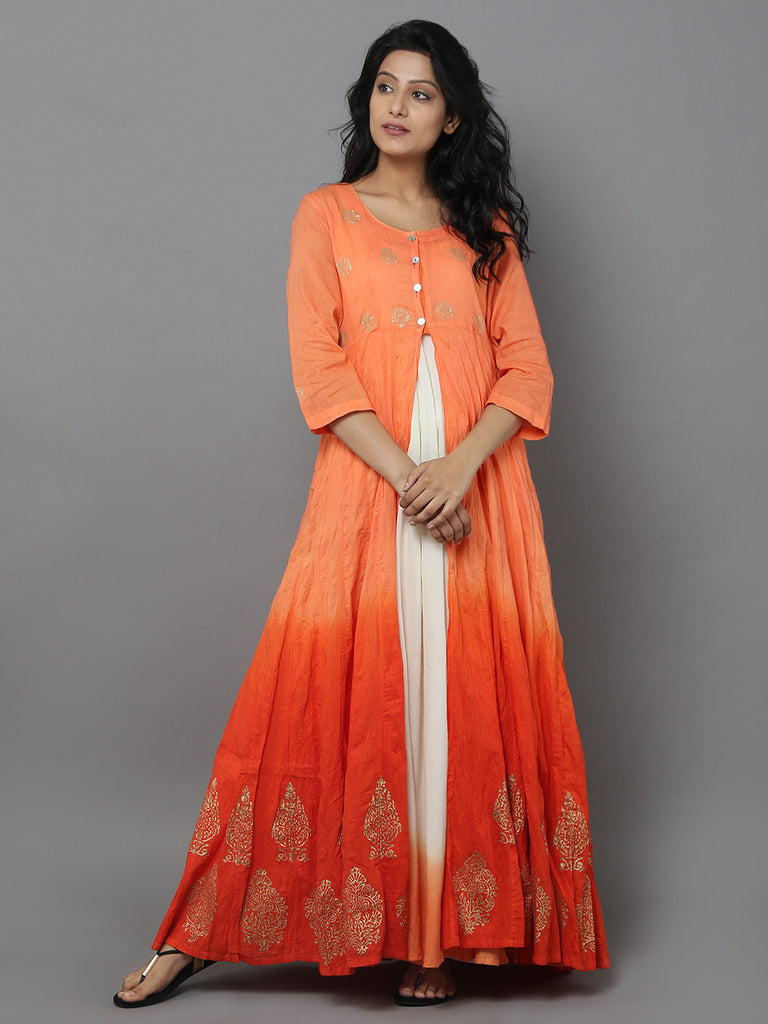 Orange Cotton Anarkali Dress