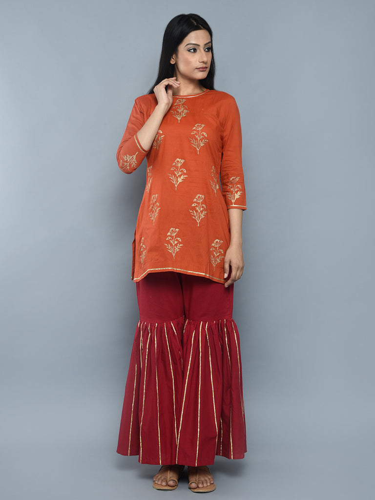 Orange Cotton Block Printed Kurta
