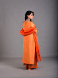 Orange Cotton Chanderi Foil Handblock Printed Suit - Set of 3