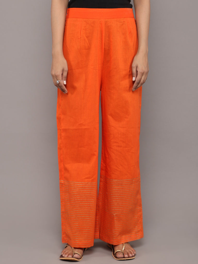 Orange Cotton Hand Block Printed Pants