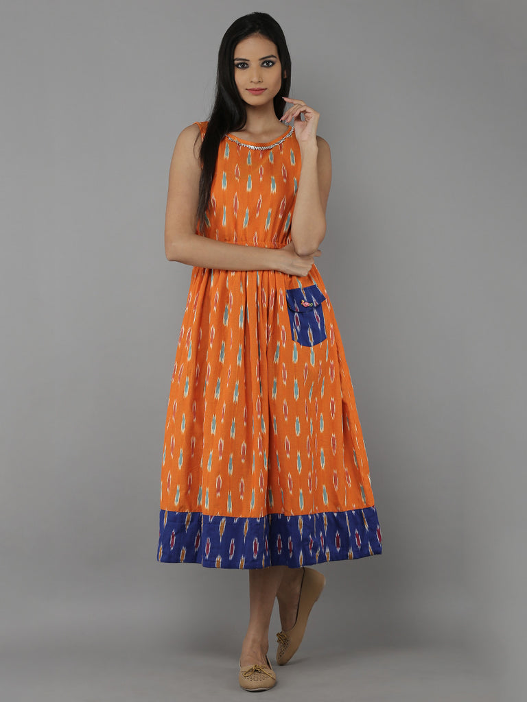 Orange Indigo Cotton Ikat Dress