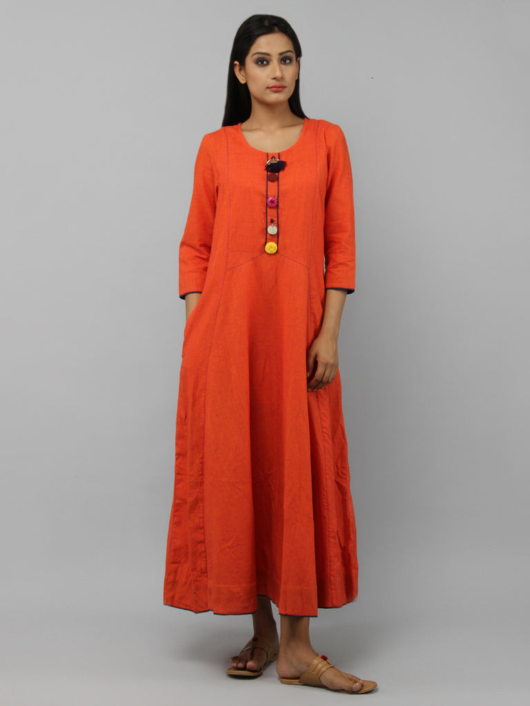 Orange Cotton Maxi Dress