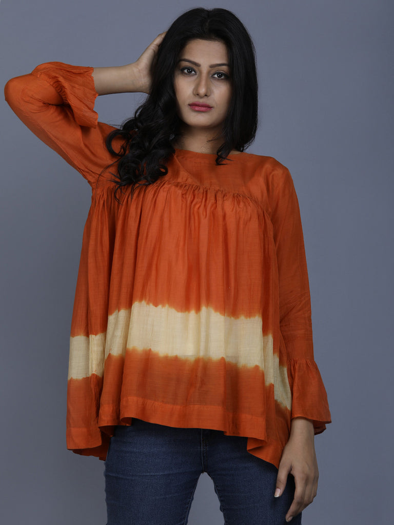 Orange Cotton Silk Batik Top