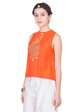 Orange Cotton Silk Top