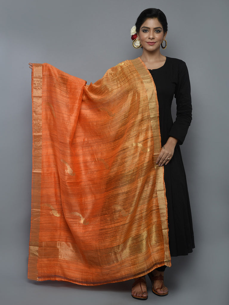 Orange Handwoven Banarasi Dupatta