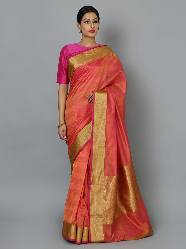 Orange Hand Woven Banarasi Cotton Silk Saree