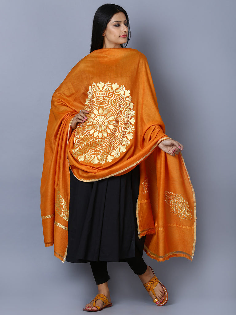 Orange Golden Handwoven Banarasi Dupatta