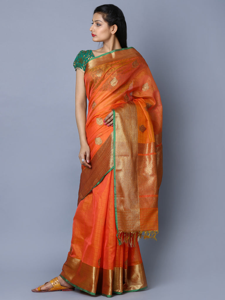 Orange Green Kora Cotton Handwoven Banarasi Saree