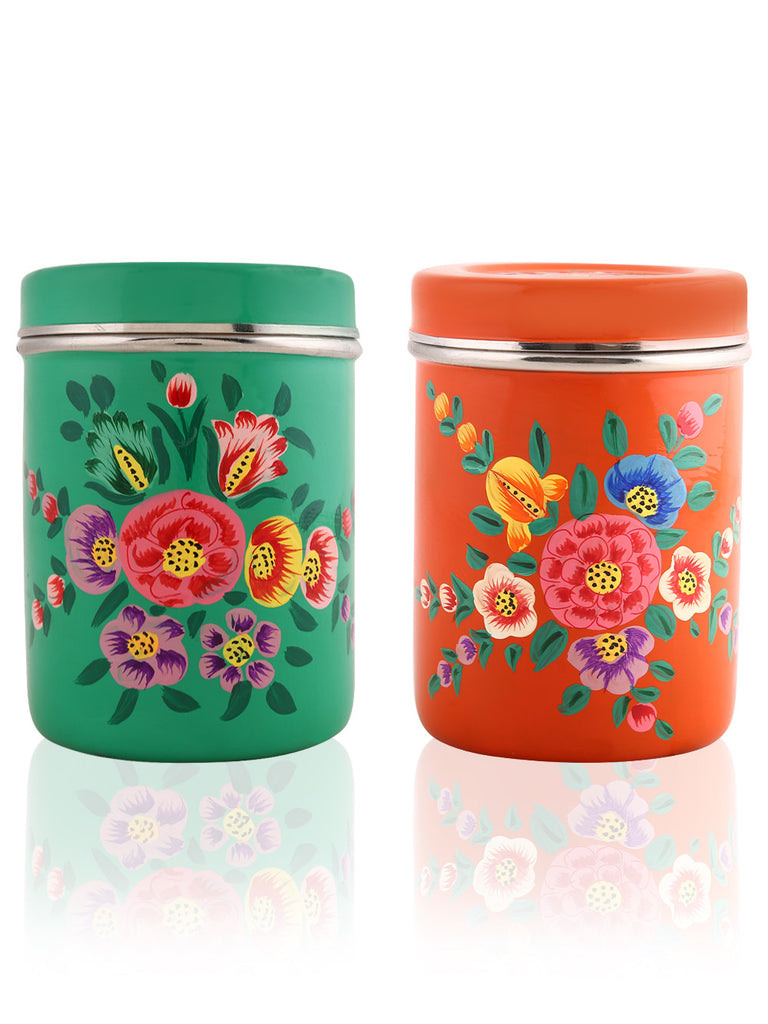 Green Orange Hand Painted Steel Canisters - Set of 2
