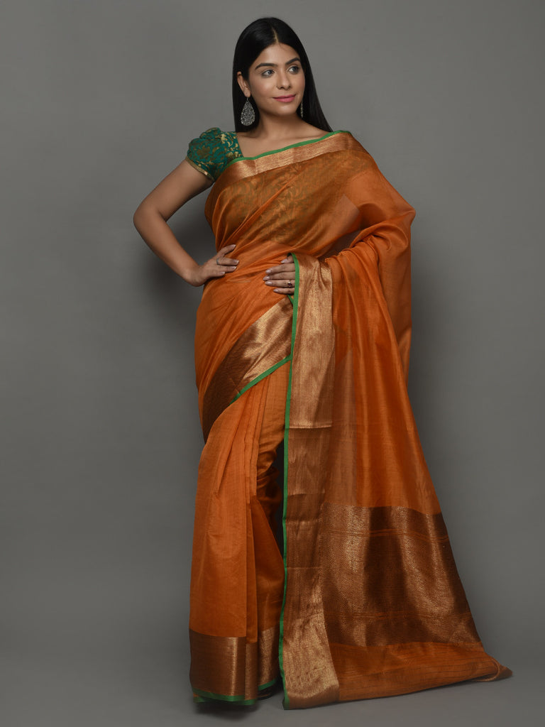 Orange Green Handwoven Kora Cotton Banarasi Saree