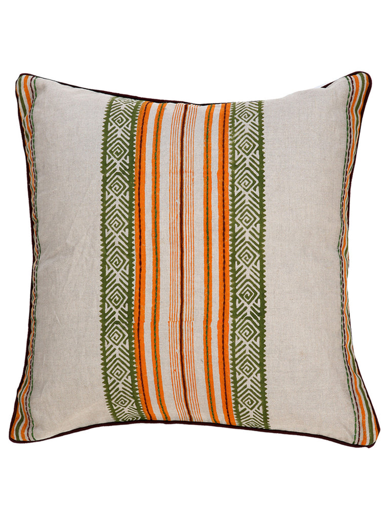 Orange Green Off White Cotton Slub Block Printed and Embroidered Cushion Cover