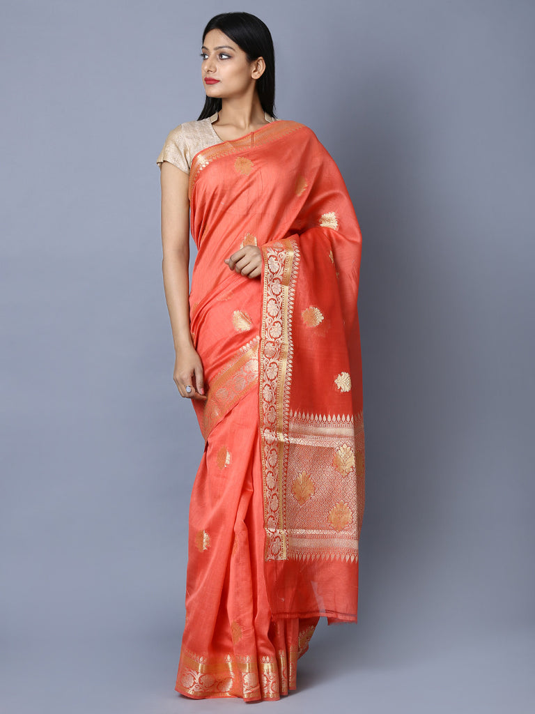 Peach Handwoven Kora Cotton Banarasi Saree