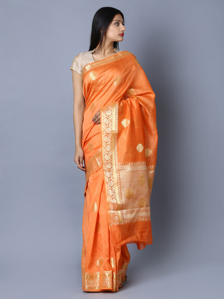 Orange Handwoven Kora Cotton Banarasi Saree
