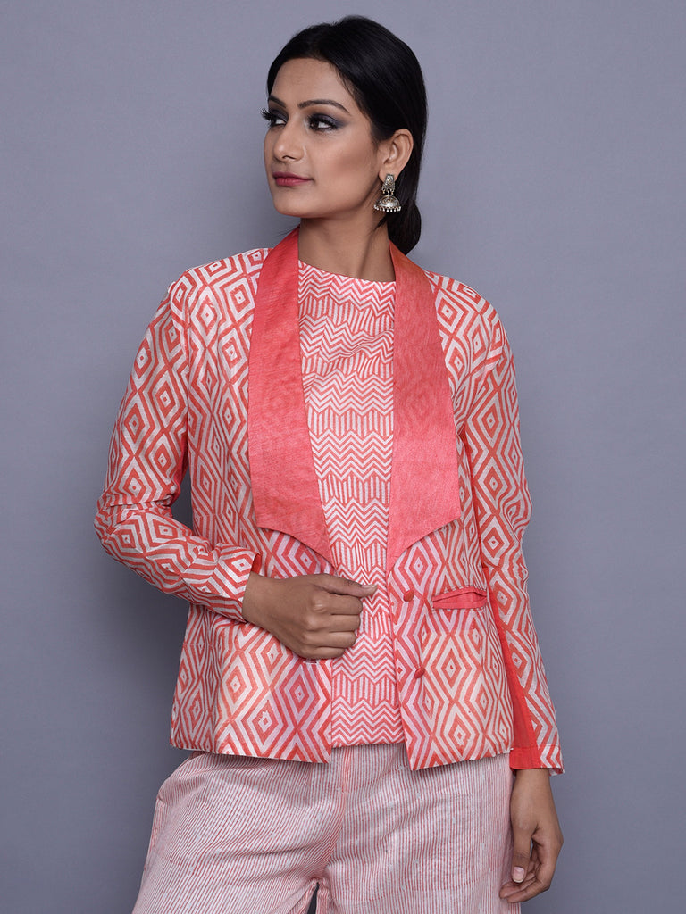 Orange Ivory Chanderi Block Printed Jacket with Cotton Lining
