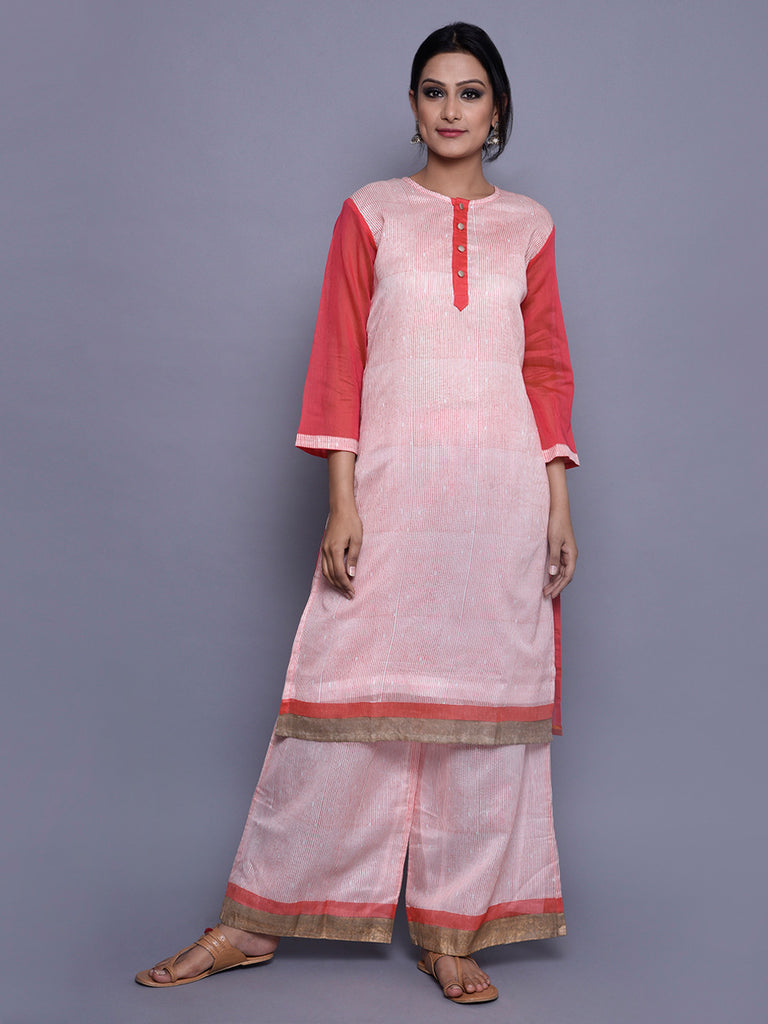 Orange Ivory Chanderi  Straight Line Kurta With Cotton Lining