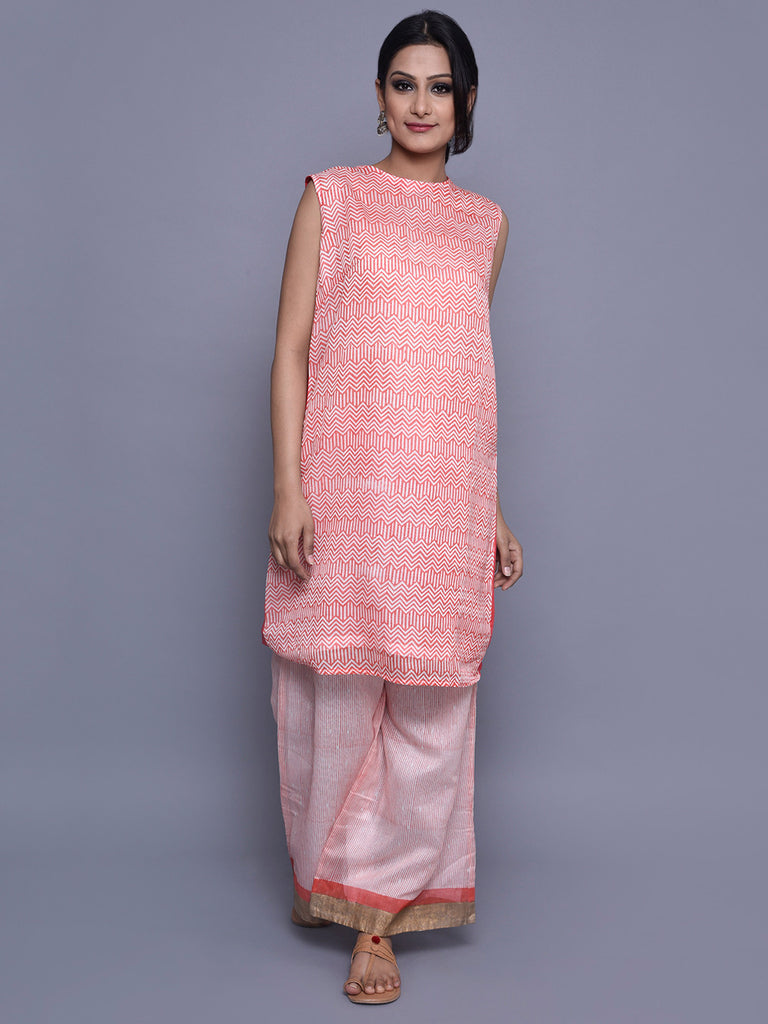 Orange Ivory Chanderi Zigzag Print Kurta with Cotton Lining