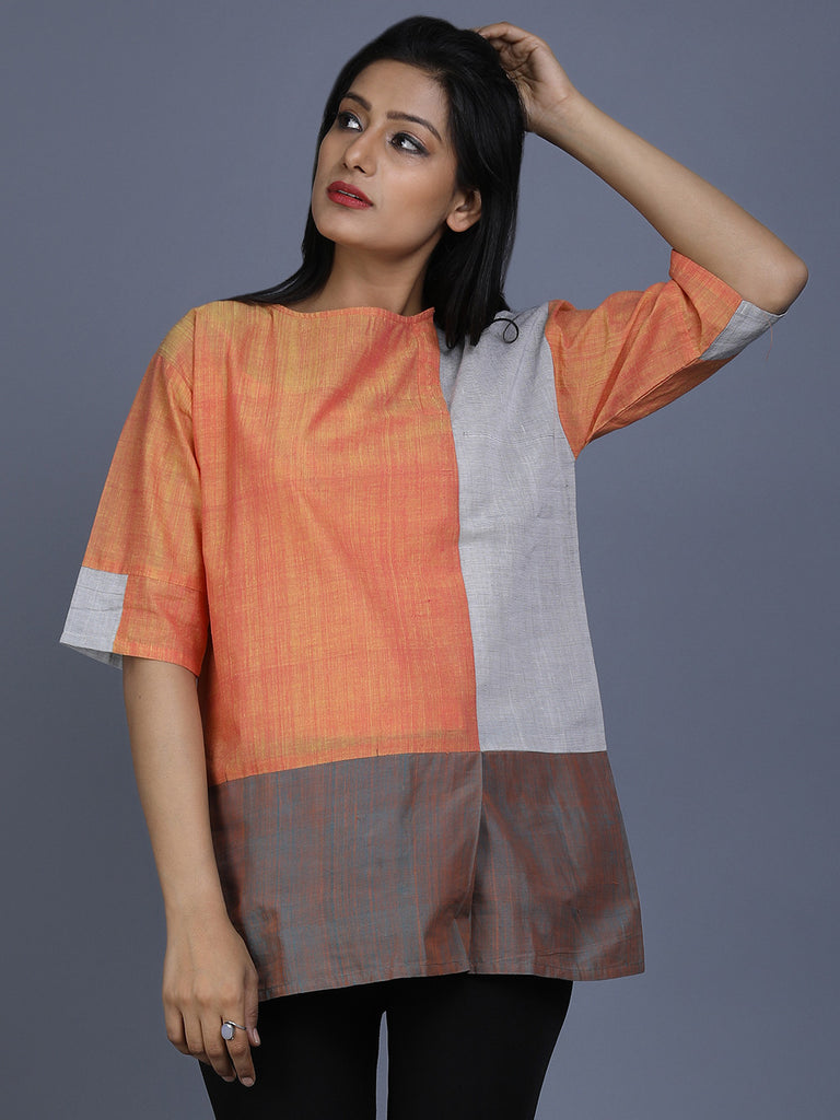 Orange Grey Mangalgiri Cotton Top