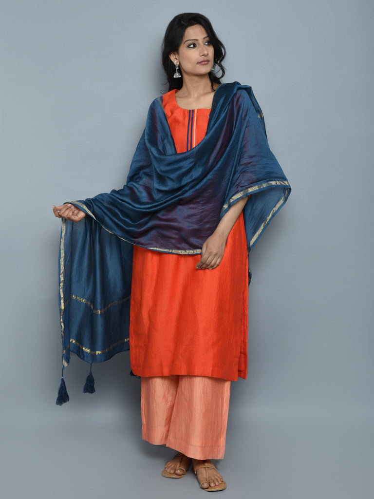 Orange Peach Blue Chanderi Cotton Suit - Set of 3