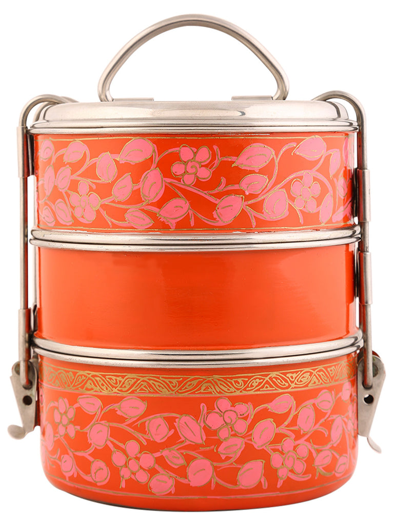 Orange Pink Hand Painted Steel 3 Tier Clip Lunch Carrier