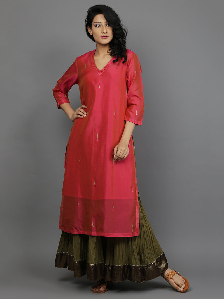 Orange Pink Chanderi Kurta With Green Cambric Cotton Lehenga and Slip - Set of 3