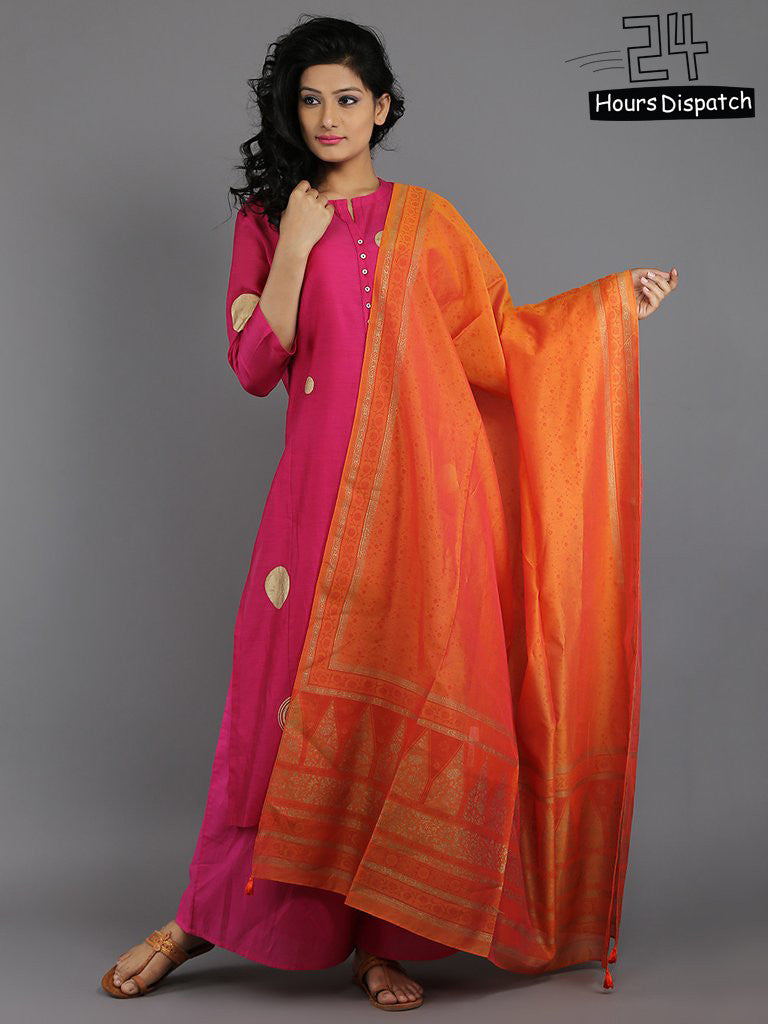 Orange Chanderi Dupatta