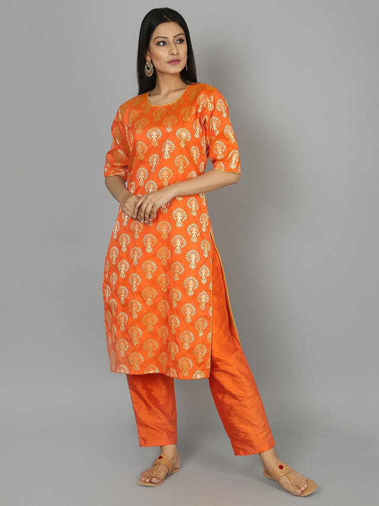 Orange Silk Kurta with Pants - Set of 2