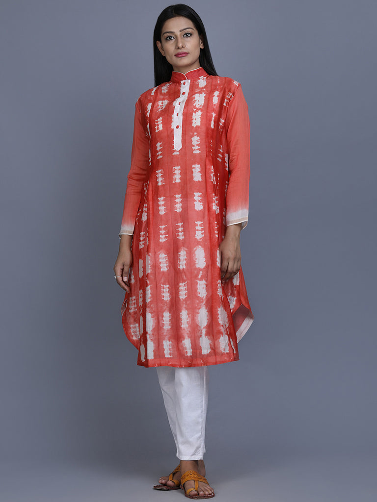 Orange White Chanderi Silk Shibori Dye Tunic