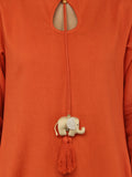 Orange 'Baby Elephant' tassel Khadi Kurta