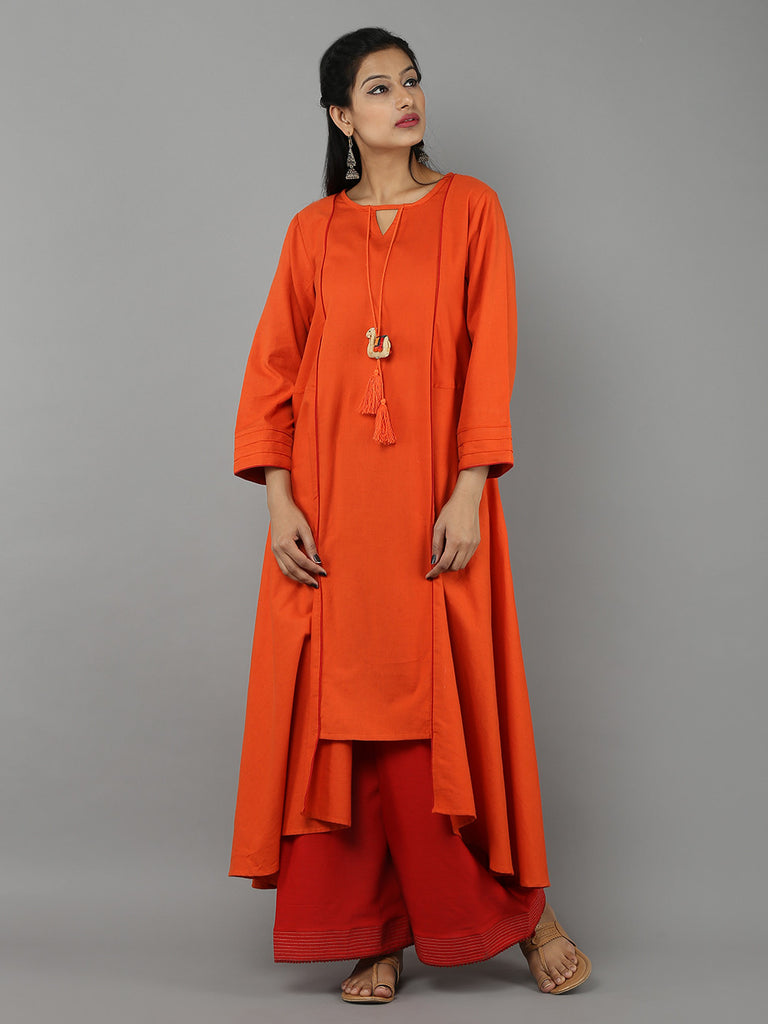 Orange 'Camel' Tassel Khadi Kurta with Red Palazzo - Set of 2