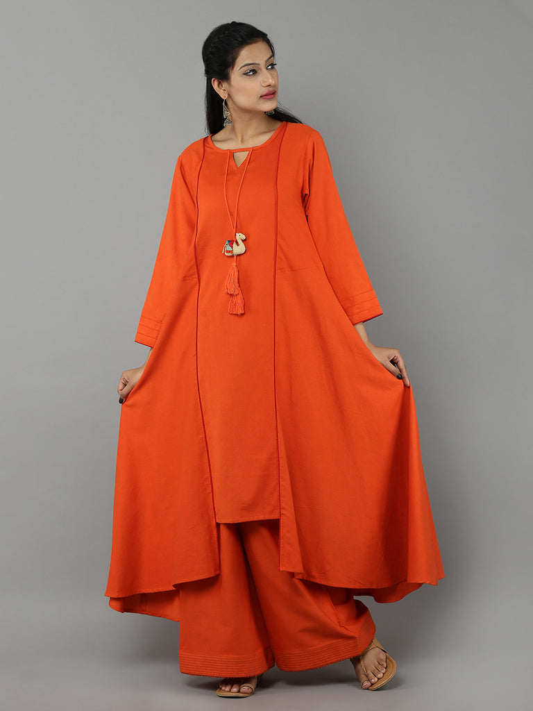 Orange 'Camel' Tassel Khadi Kurta with Palazzo - Set of 2
