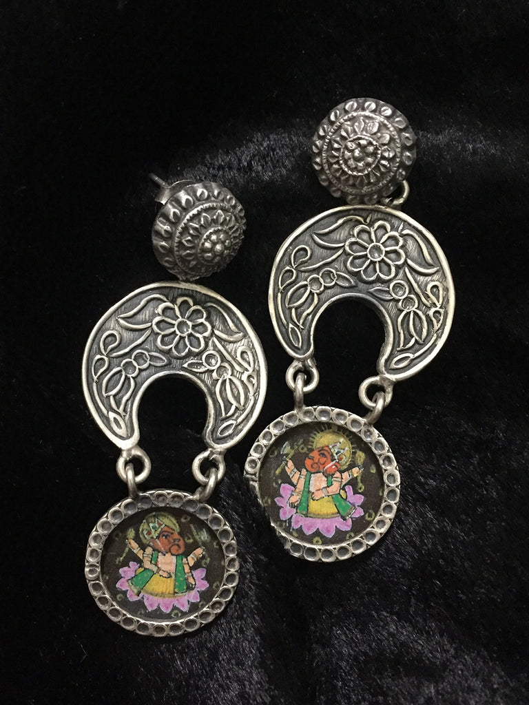 Painted Ganesha Silver Earrings