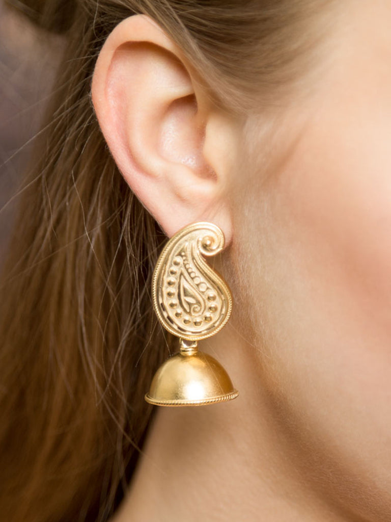 Paisley Silver Jhumkies with Gold Plating