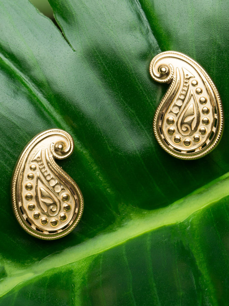Paisley Silver Studs with Gold Plating