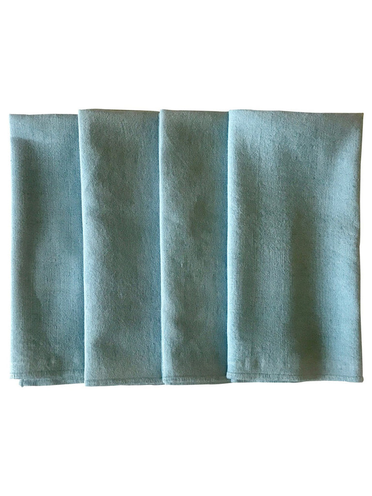 Pale Blue Cotton Linen Fabric Napkins - Set of 4