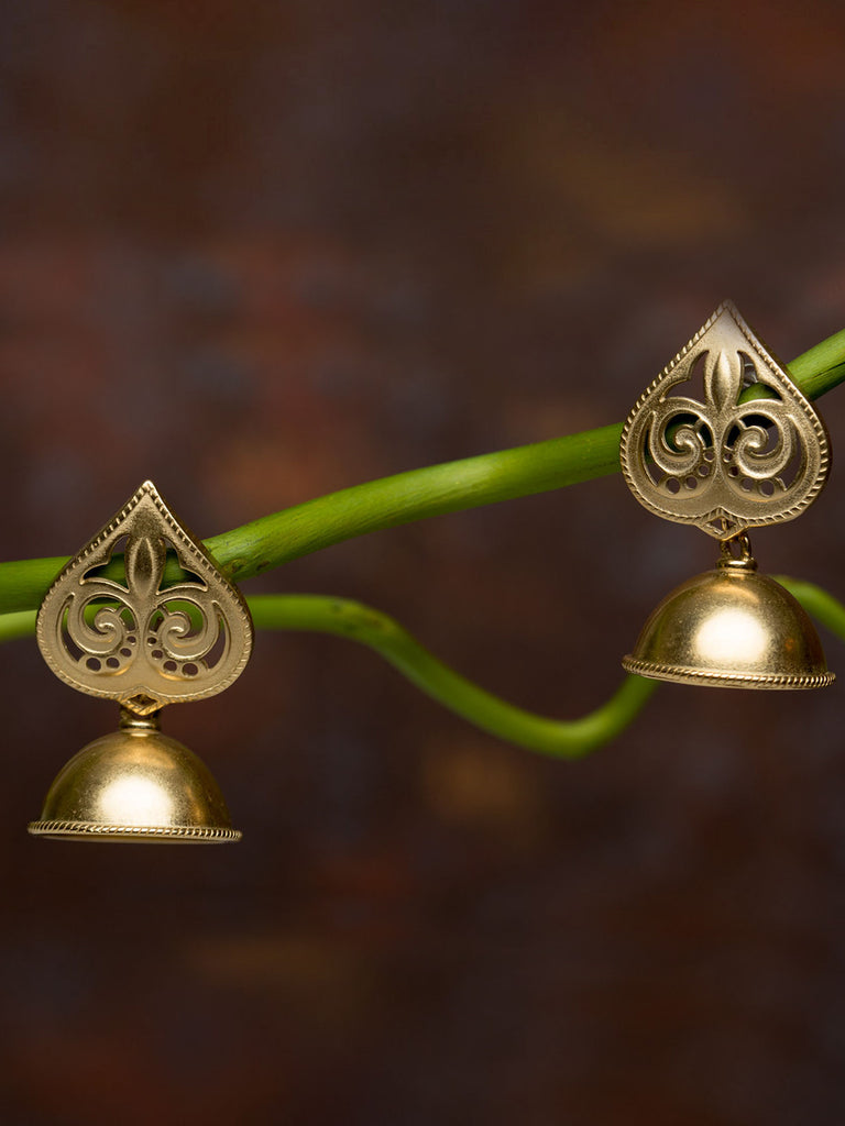 Spade Silver Jhumkies with Gold Plating
