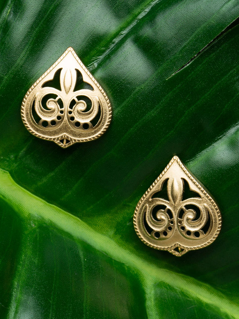 Spade Silver Studs with Gold Plating