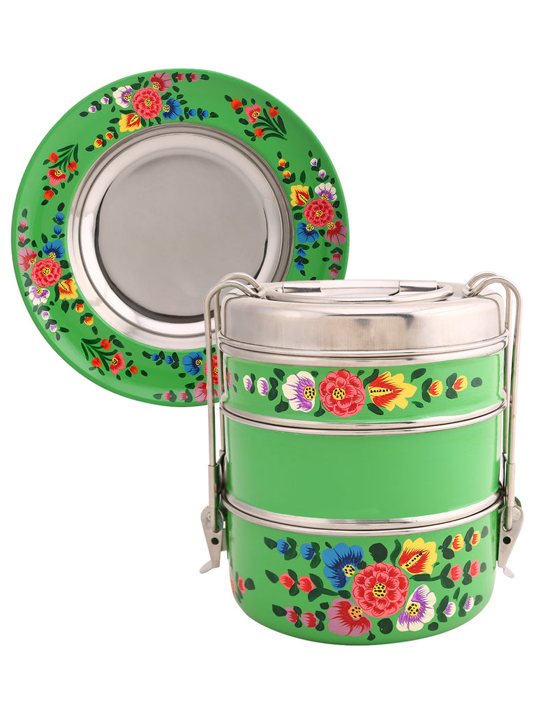 Parrot Green Hand Painted 3 Tier Clip Lunch Carrier with Serving Plate - Set of 2