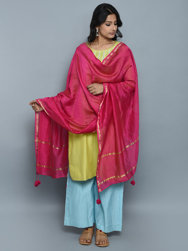 Light Green Light Blue Magenta Chanderi Cotton Suit - Set of 3